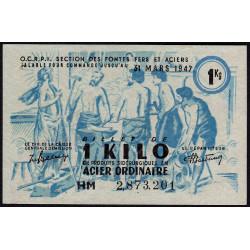 1 kg acier ordinaire - 31-03-1947 - Endossé à Nîmes (30) - Etat : SUP