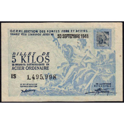5 kg acier ordinaire - 30-09-1948 - Endossé - Etat : SUP+