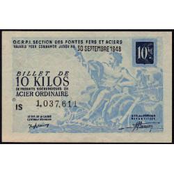 10 kg acier ordinaire - 30-09-1948 - Endossé à Limoges (87) - Etat : SUP