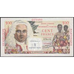 Antilles Françaises - Pick 1 - 1 nouv. franc sur 100 francs - Série D.2 - 1960 - Etat : SUP+