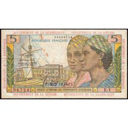 Antilles Françaises - Pick 7a - 5 francs - Série E.1 - 1964 - Etat : TB à TB+
