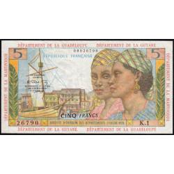 Antilles Françaises - Pick 7b - 5 francs - Série K.1 - 1966 - Etat : TTB