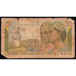 Antilles Françaises - Pick 7b - 5 francs - Série K.1 - 1966 - Etat : AB-