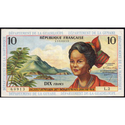 Antilles Françaises - Pick 8a - 10 francs - Série L.2 - 1964 - Etat : TTB+