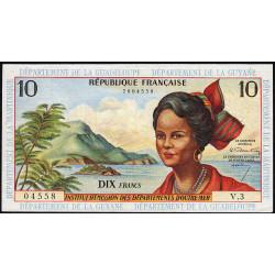 Antilles Françaises - Pick 8a - 10 francs - Série V.3 - 1964 - Etat : TTB+