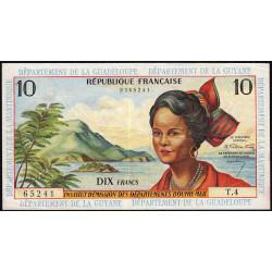 Antilles Françaises - Pick 8a - 10 francs - Série T.4 - 1964 - Etat : TTB