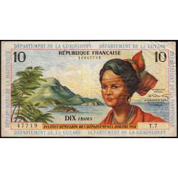 Antilles Françaises - Pick 8b - 10 francs - Série T.7 - 1966 - Etat : TB à TB+