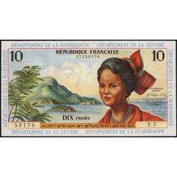 Antilles Françaises - Pick 8b - 10 francs - Série Y.7 - 1966 - Etat : SPL+ à pr.NEUF