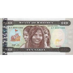 Erythrée - Pick 3 - 10 nakfa - Série AF - 24/05/1997 - Etat : NEUF