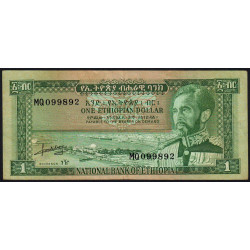 Ethiopie - Pick 25 - 1 ethiopian dollar - Série MQ - 1966 - Etat : TTB