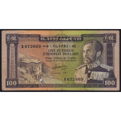 Ethiopie - Pick 29 - 100 ethiopian dollars - Série A - 1966 - Etat : TB-