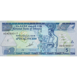 Ethiopie - Pick 47a - 5 birr - Série AD - 1997 - Etat : NEUF