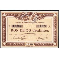 Quimper et Brest - Pirot 104-1 - 50 centimes - Série A - 1915 - Etat : pr.NEUF