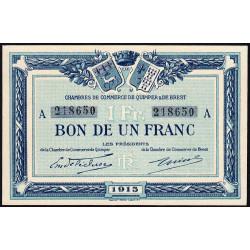 Quimper et Brest - Pirot 104-2 - 1 franc - Série A - 1915 - Etat : NEUF