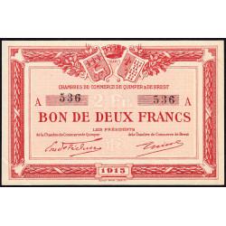 Quimper et Brest - Pirot 104-3 - 2 francs - Série A - 1915 - Etat : SUP+