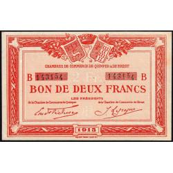 Quimper et Brest - Pirot 104-6 - 2 francs - Série B - 1915 - Etat : SUP+