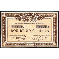 Quimper et Brest - Pirot 104-07-C - 50 centimes - Etat : SPL