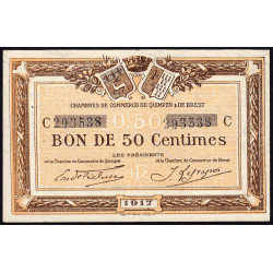 Quimper et Brest - Pirot 104-7 - 50 centimes - Série C - 1917 - Etat : SUP