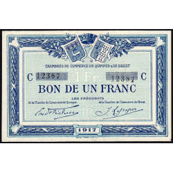 Quimper et Brest - Pirot 104-8 - 1 franc - Série C - 1917 - Etat : NEUF