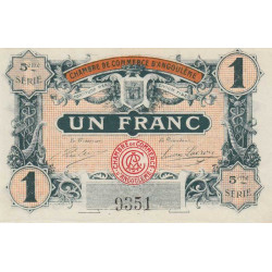 Angoulême - Pirot 9-36 - 1 franc - 5ème série - 11/04/1917 - Etat : SPL