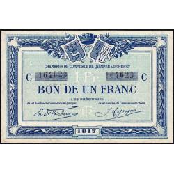Quimper et Brest - Pirot 104-8 - 1 franc - Série C - 1917 - Etat : SUP