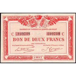Quimper et Brest - Pirot 104-9 - 2 francs - Série C - 1917 - Etat : SPL