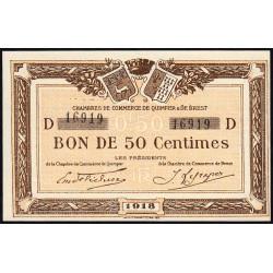 Quimper et Brest - Pirot 104-10 - 50 centimes - Série D - 1918 - Etat : SPL