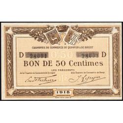 Quimper et Brest - Pirot 104-10 - 50 centimes - Série D - 1918 - Etat : SUP+