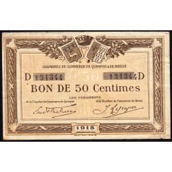 Quimper et Brest - Pirot 104-10 - 50 centimes - Série D - 1918 - Etat : TB
