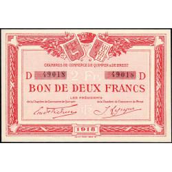 Quimper et Brest - Pirot 104-12 - 2 francs - Série D - 1918 - Etat : SPL