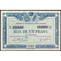 Quimper et Brest - Pirot 104-17 - 1 franc - Série E - 1920 - Etat : SUP