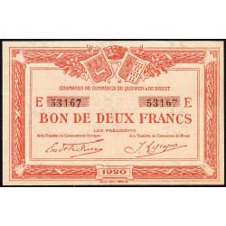 Quimper et Brest - Pirot 104-18 - 2 francs - Série E - 1920 - Etat : SPL+