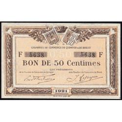 Quimper et Brest - Pirot 104-19 - 50 centimes - Série F - 1921 - Etat : SUP
