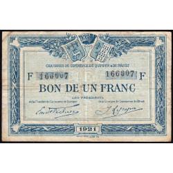 Quimper et Brest - Pirot 104-20 - 1 franc - Série F - 1921 - Etat : TB-