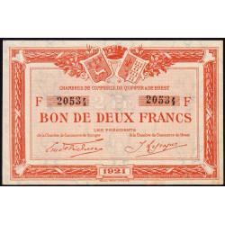 Quimper et Brest - Pirot 104-21 - 2 francs - Série F - 1921 - Etat : SUP+