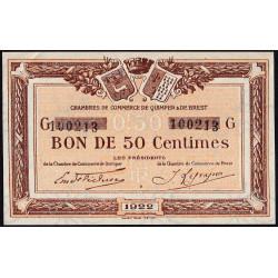 Quimper et Brest - Pirot 104-22 - 50 centimes - Série G - 1922 - Etat : SUP+