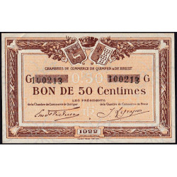Quimper et Brest - Pirot 104-22-G - 50 centimes - Etat : SUP+