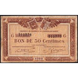 Quimper et Brest - Pirot 104-22 - 50 centimes - Série G - 1922 - Etat : B+
