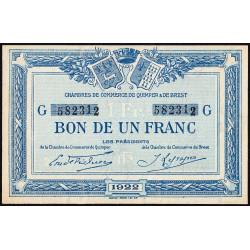 Quimper et Brest - Pirot 104-23 - 1 franc - Série G - 1922 - Etat : SPL