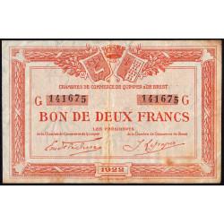 Quimper et Brest - Pirot 104-24 - 1 franc - Série G - 1922 - Etat : TB+