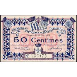 Rennes et Saint-Malo - Pirot 105-1 - 50 centimes - Sans série - 25/08/1915 - Etat : TTB-