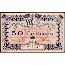 Rennes et Saint-Malo - Pirot 105-1 - 50 centimes - Sans série - 25/08/1915 - Etat : TB
