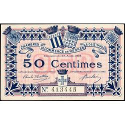 Rennes et Saint-Malo - Pirot 105-1 - 50 centimes - Sans série - 25/08/1915 - Etat : NEUF