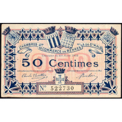 Rennes et Saint-Malo - Pirot 105-1 - 50 centimes - Etat : TTB+