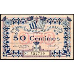 Rennes et Saint-Malo - Pirot 105-1 - 50 centimes - Sans série - 25/08/1915 - Etat : TTB+