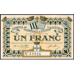 Rennes et Saint-Malo - Pirot 105-3 - 1 franc - Sans série - 25/08/1915 - Etat : SUP