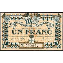 Rennes et Saint-Malo - Pirot 105-3 - 1 franc - Sans série - 25/08/1915 - Etat : SUP+