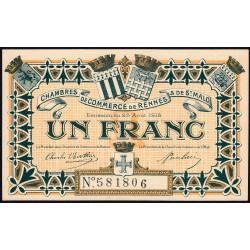 Rennes et Saint-Malo - Pirot 105-3 - 1 franc - Sans série - 25/08/1915 - Etat : NEUF