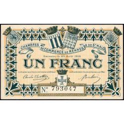 Rennes et Saint-Malo - Pirot 105-3 - 1 franc - Sans série - 25/08/1915 - Etat : pr.NEUF