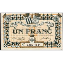 Rennes et Saint-Malo - Pirot 105-4 - 1 franc - 25/08/1915 - Annulé - Etat : SUP